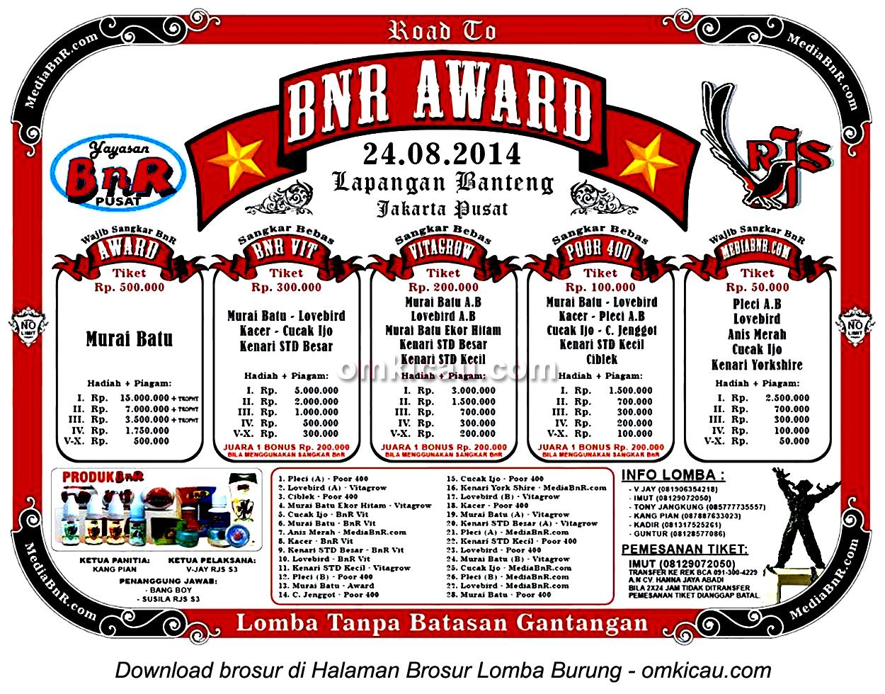 Brosur Lomba Burung Berkicau Road to BnR Award, Jakarta, 24 Agustus 2014