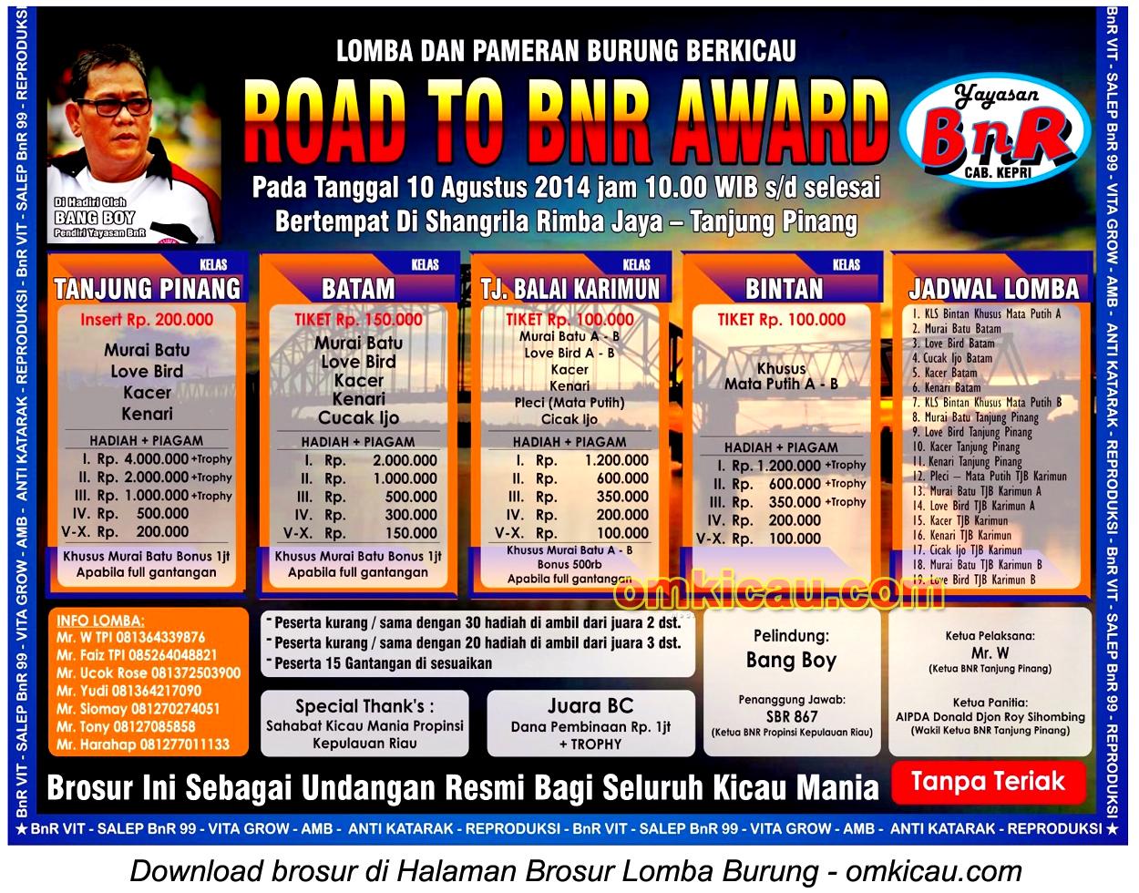 Brosur Lomba Burung Berkicau Road to BnR Award, Tanjungpinang, 10 Agustus 2014