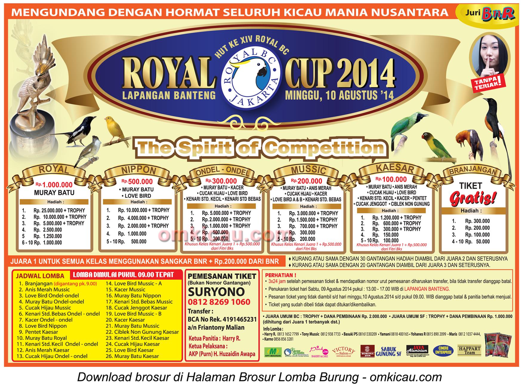 Brosur Lomba Burung Berkicau Royal Cup, Jakarta, 10 Agustus 2014