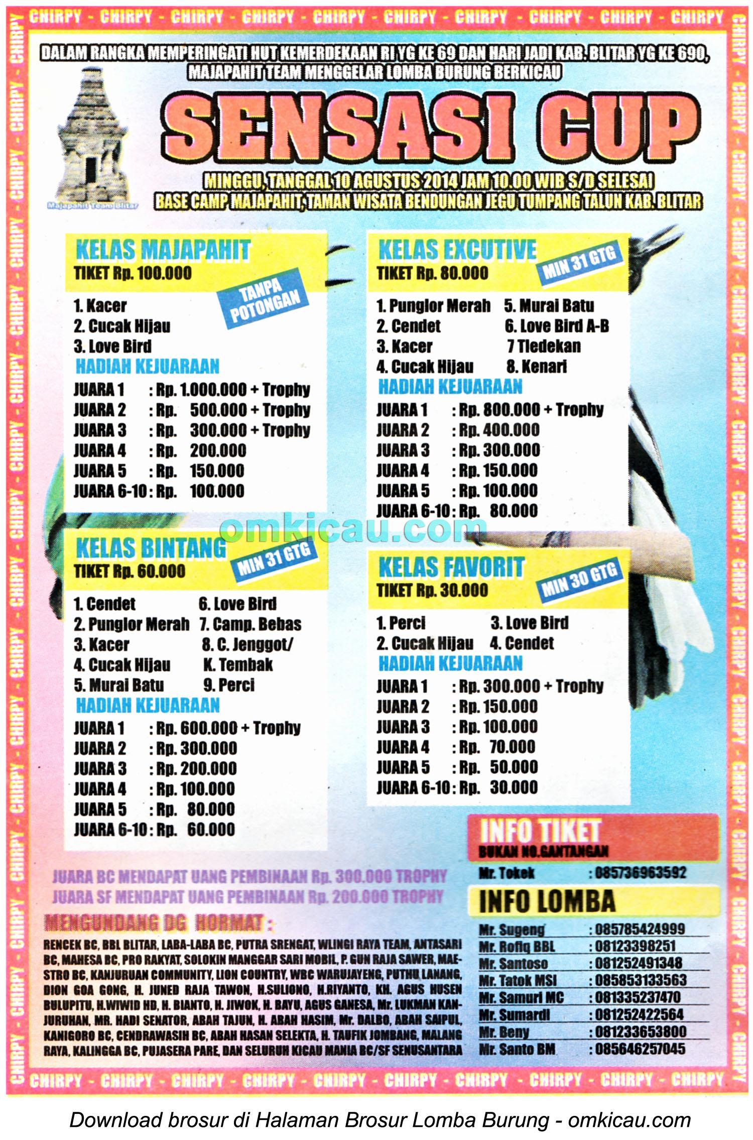 Brosur Lomba Burung Berkicau Sensasi Cup, Blitar, 10 Agustus 2014