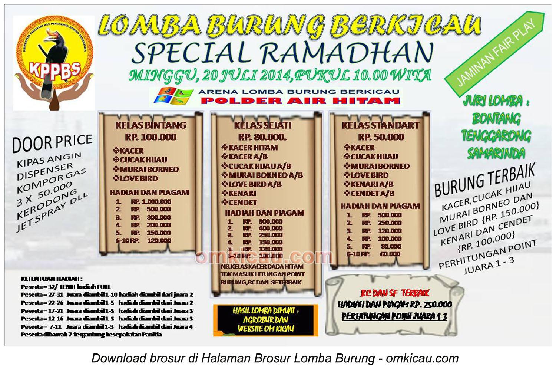 Brosur Lomba Burung Berkicau Special Ramadhan - KPPBS, Samarinda, 20 Juli 2014