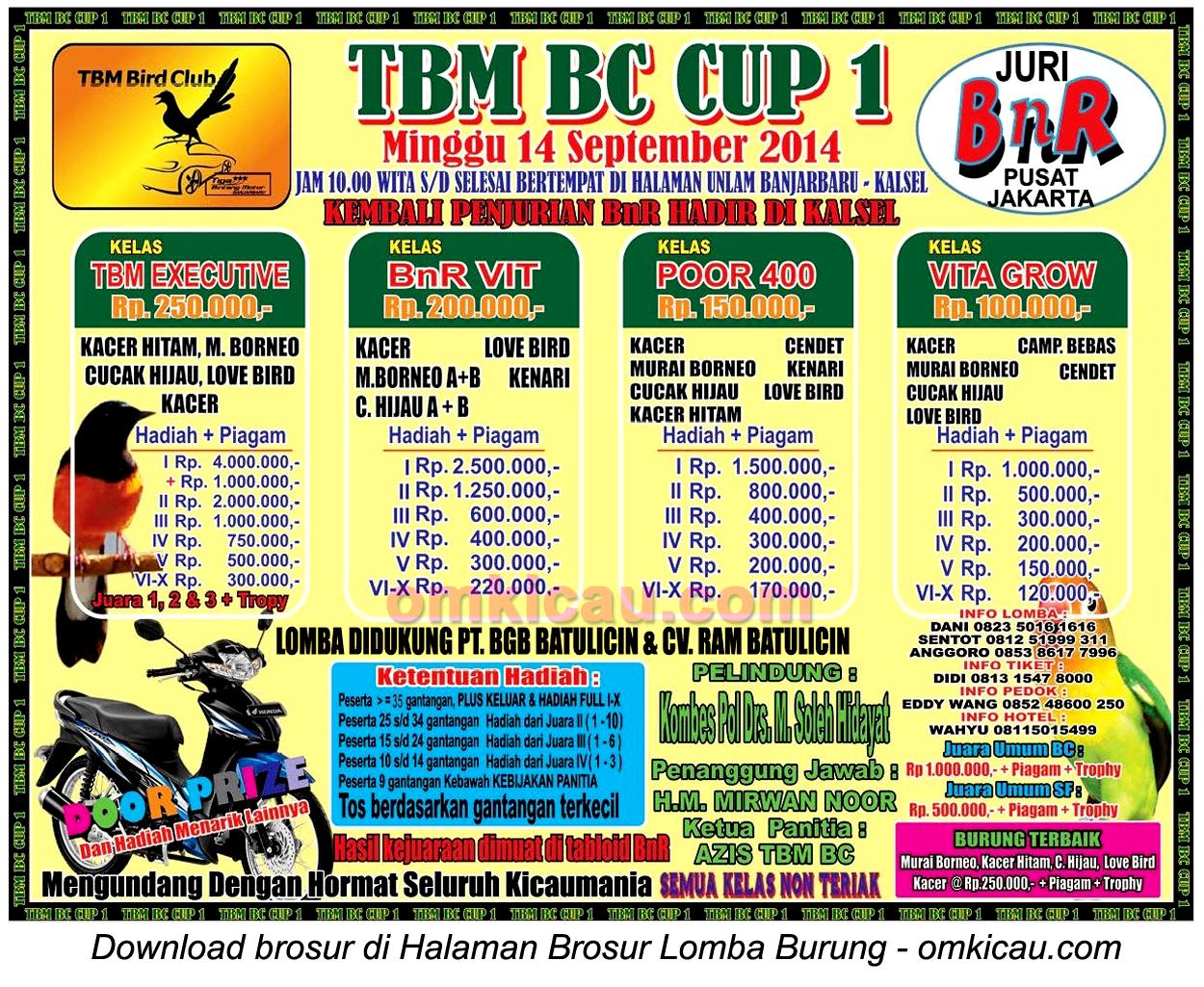 Brosur Lomba Burung Berkicau TBM BC Cup, Banjarbaru-Kalsel, 14 September 2014