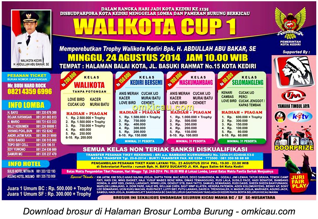 Brosur Lomba Burung Berkicau Wali Kota Cup 1, Kediri, 24 Agustus 2014