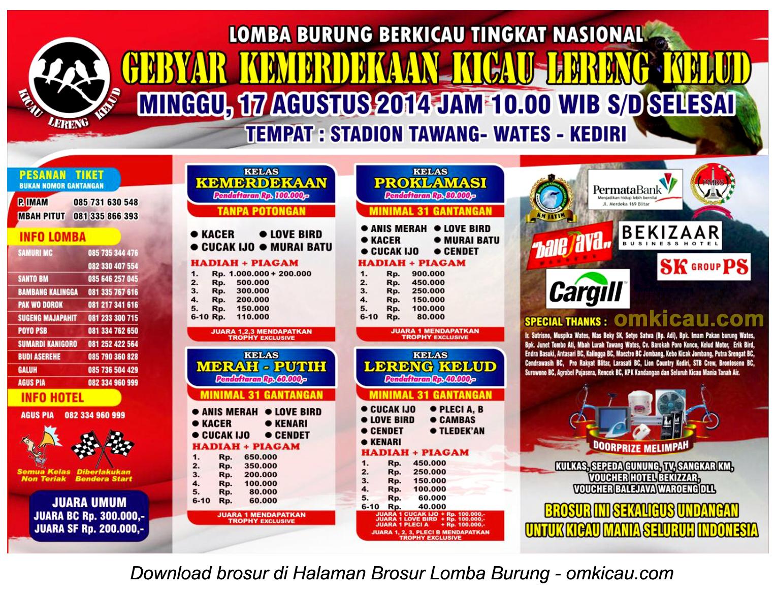 Brosur Lomba Burung Gebyar Kemerdekaan Kicau Lereng Kelud, Kediri, 17 Agustus 2014