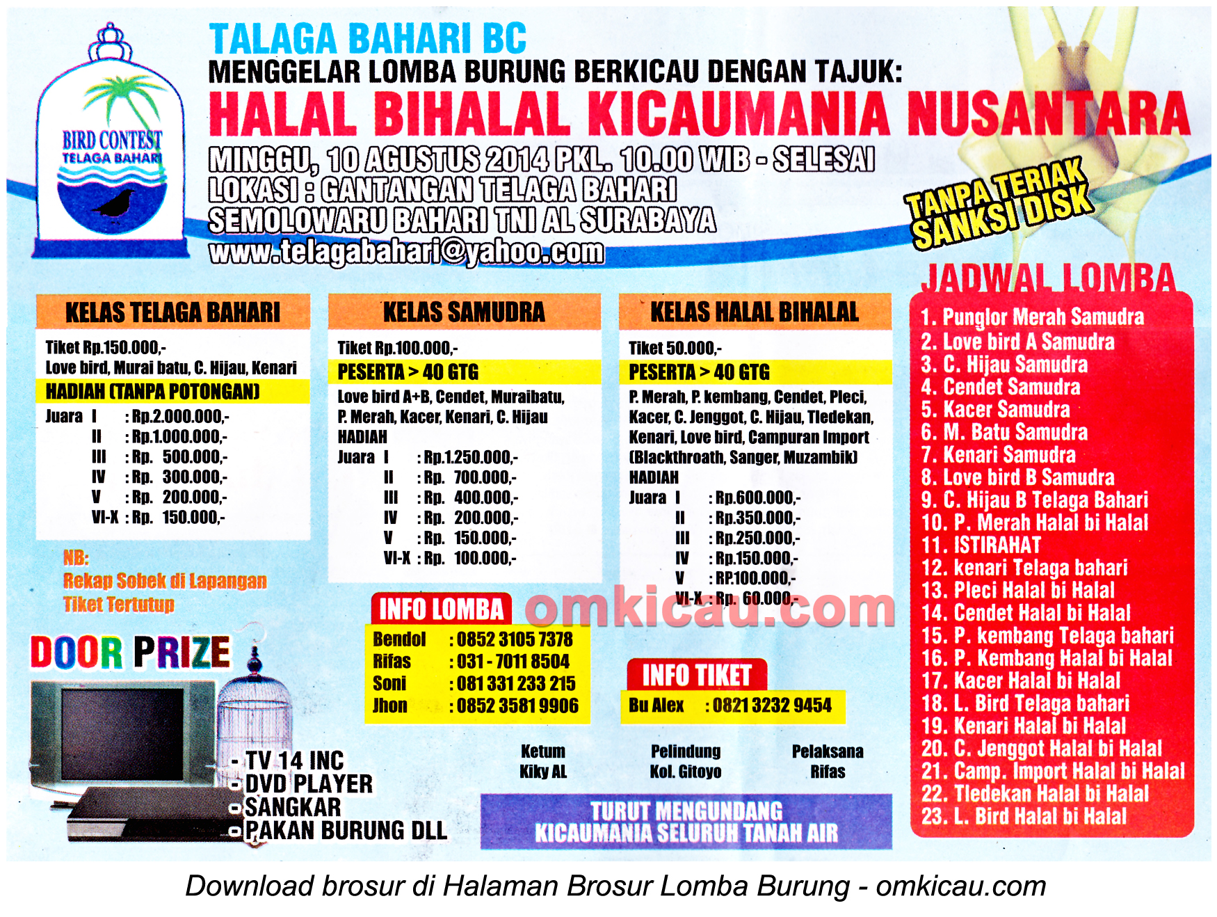 Brosur Lomba Burung Halal Bihalal Kicaumania Nusantara, Surabaya, 10 Agustus 2014