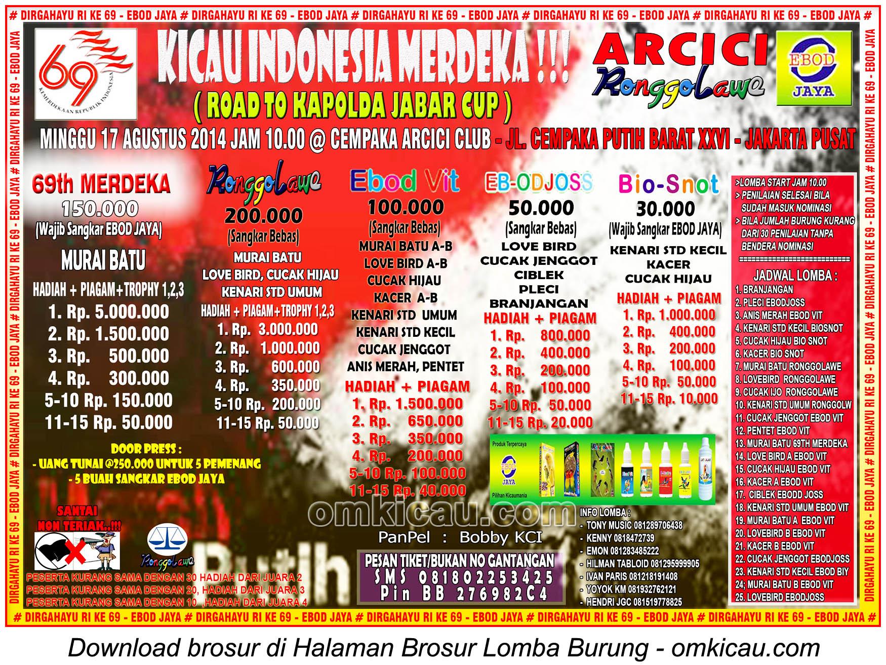 Brosur Lomba Burung Kicau Indonesia Merdeka - Arcici, Jakarta Pusat, 17 Agustus 2014