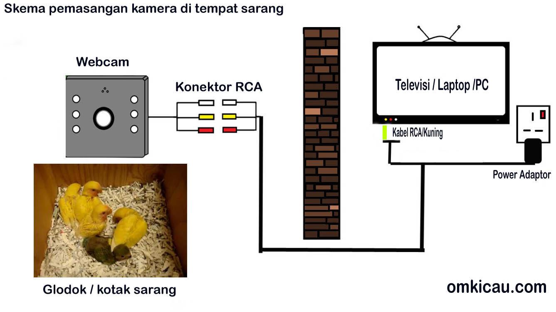 Skema/pemasangan kamera (RCA) dengan perangkat televisi atau PC