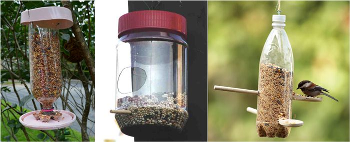 Bird feeder dari botol plastik