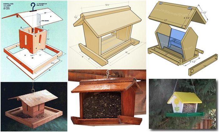 Bird feeder atau tempat pakan dari bahan kayu