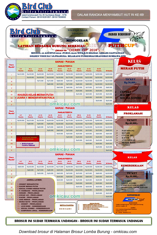 Brosur Latber Merah Putih Cup - Golden Voice BC, Sumbawa Besar, 10 Agustus 2014