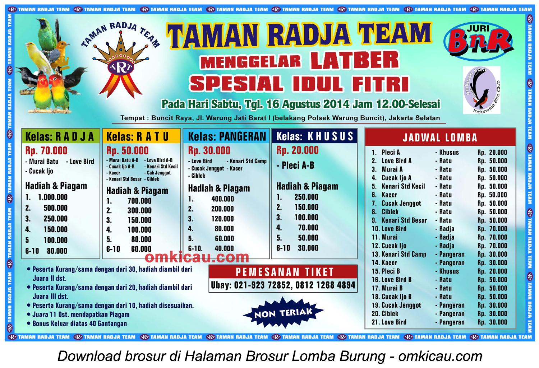 Brosur Latber Spesial Idul Fitri - Taman Radja Team, Jakarta Selatan, 16 Agustus 2014