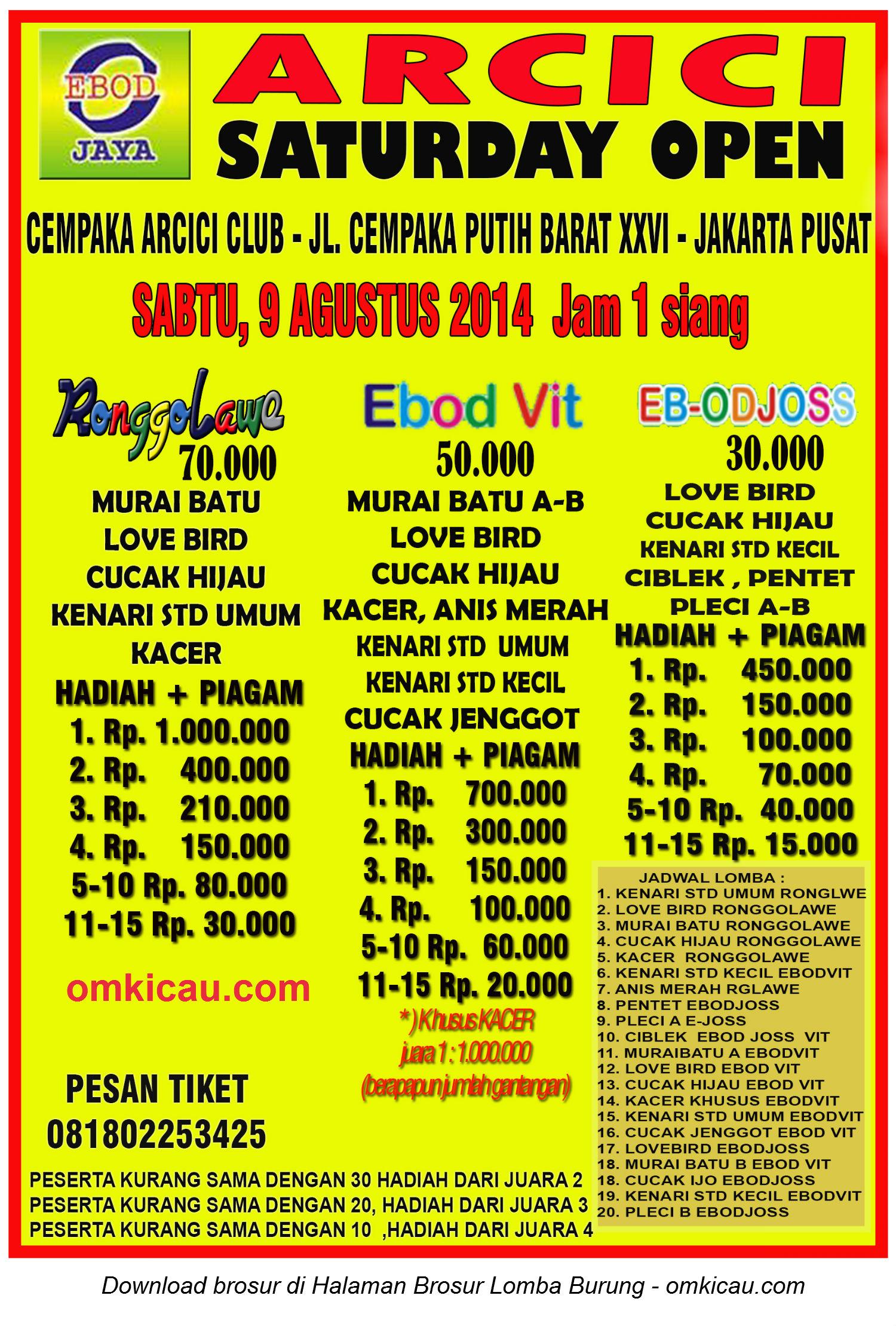 Brosur Latpres Arcici Saturday Open, Jakarta Pusat, 9 Agustus 2014