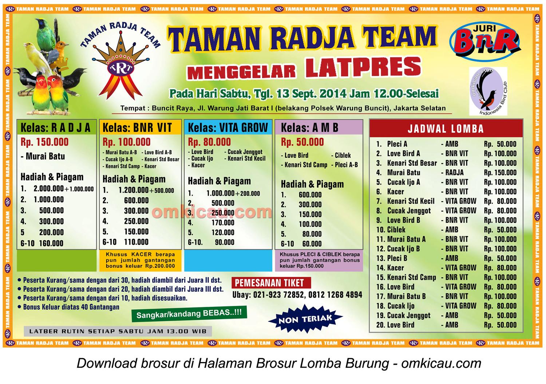 Brosur Latpres Burung Berkicau Taman Radja Team, Jakarta Selatan, 13 September 2014