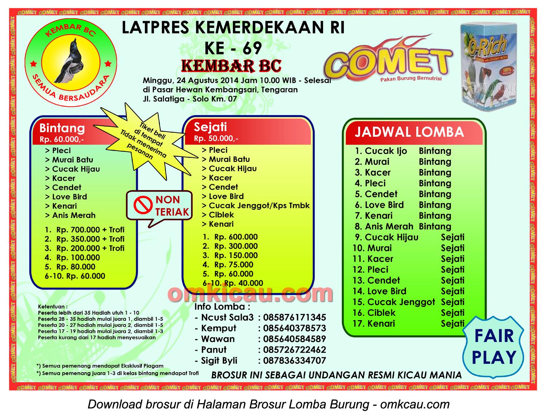 Brosur Latpres Kemerdekaan RI - Kembar BC, Kab Semarang, 24 Agustus 2014