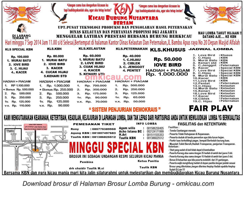 Brosur Latpres Kicau Burung Nusantara (KBN), Jakarta Timur, 7 September 2014