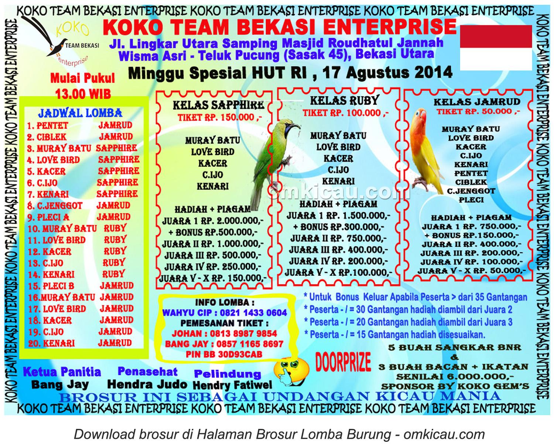 Brosur Latpres Koko Team Enterprise, Bekasi, 17 Agustus 2014