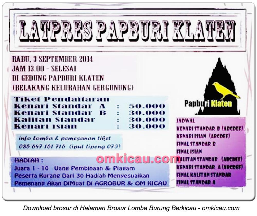 Brosur Latpres Papburi Klaten, 3 September 2014