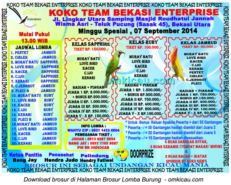 Brosur Latpres Spesial Koko Team Enterprise, Bekasi, 7 September 2014