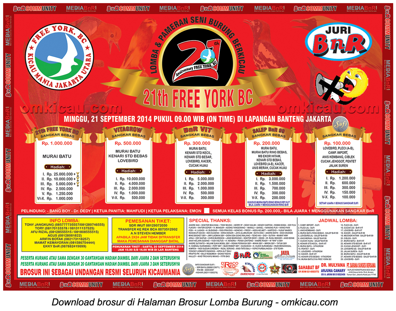 Brosur Lomba Burung Berkicau 21Th Free York BC, Jakarta, 21 September 2014