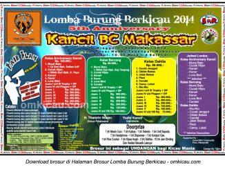 Brosur Lomba Burung Berkicau 5th Anniversary Kancil BC, Makassar, 7 September 2014