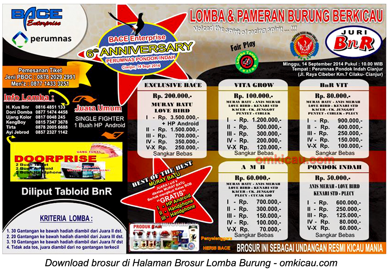 Brosur Lomba Burung Berkicau 6th Anniversary BACE Enterprise, Cianjur, 14 September 2014