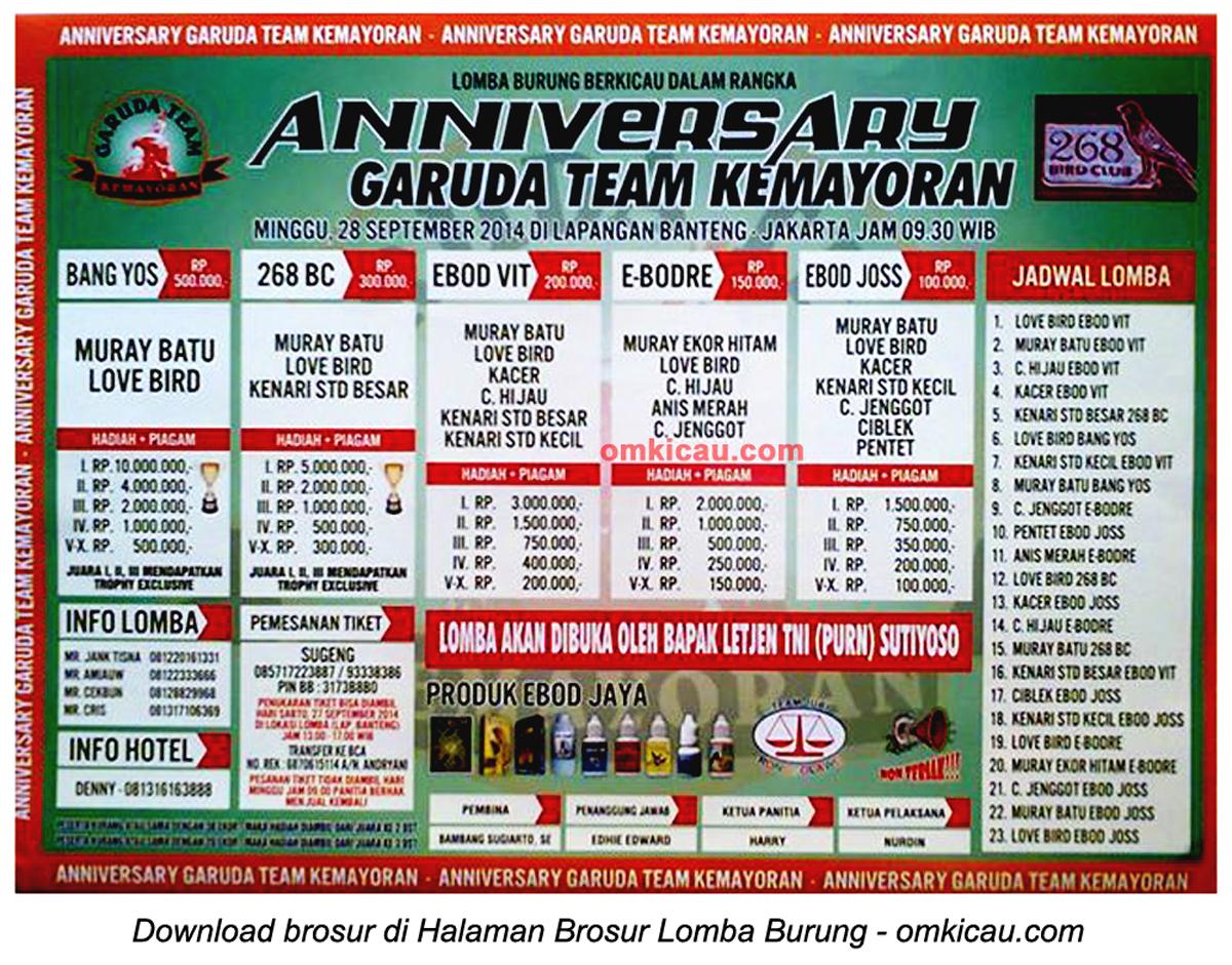 Brosur Lomba Burung Berkicau Anniversary Garuda Team Kemayoran, Jakarta, 28 September 2014