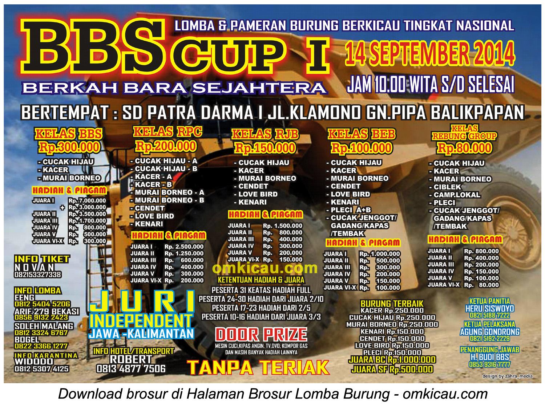 Brosur Lomba Burung Berkicau BBS Cup I - Balikpapan, 14 September 2014