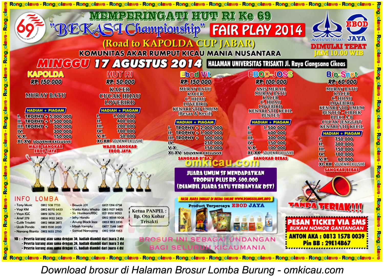 Brosur Lomba Burung Berkicau Bekasi Championship, Cikeas, 17 Agustus 2014