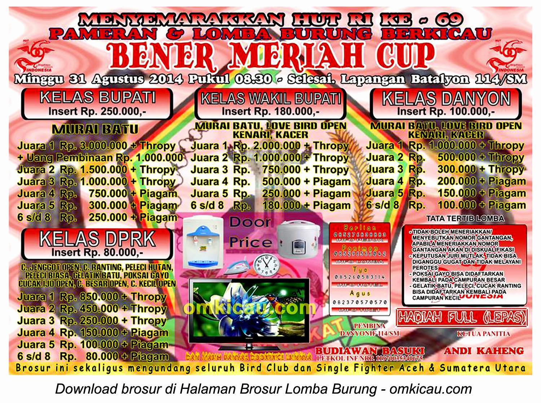 Brosur Lomba Burung Berkicau Bener Meriah Cup, Bener Meriah, 31 Agustus 2014