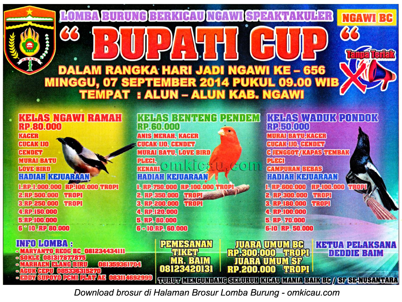 Brosur Lomba Burung Berkicau Bupati Cup, Ngawi, 7 September 2014