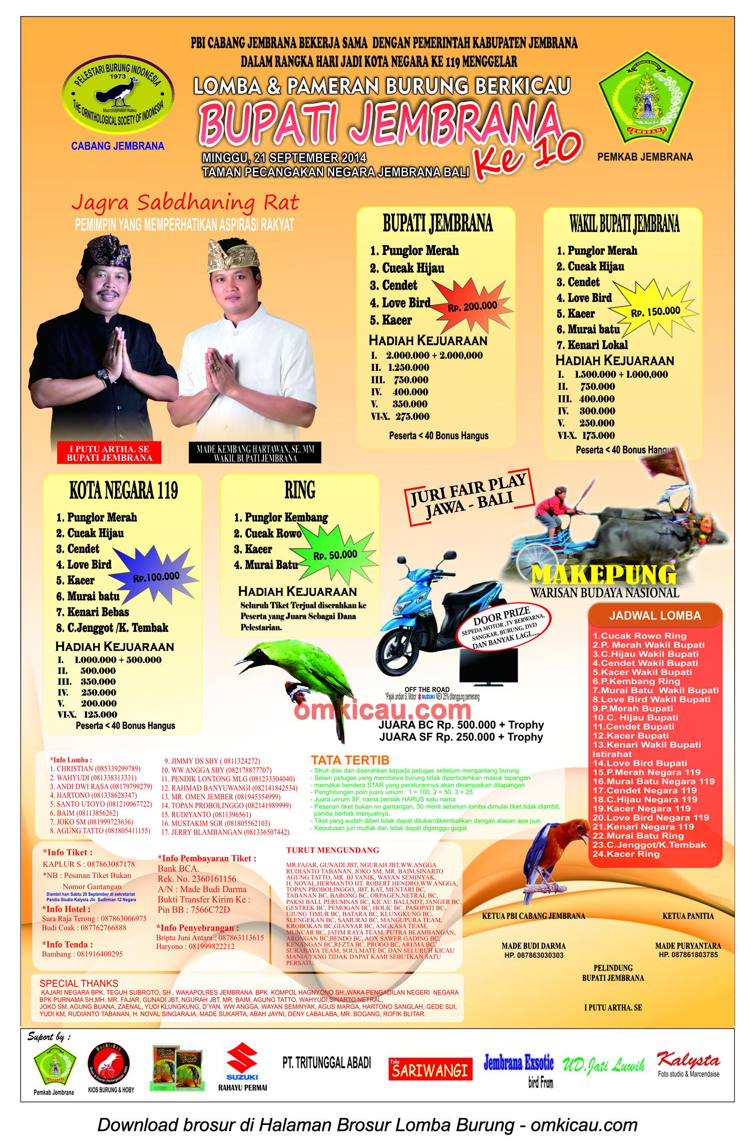 Brosur Lomba Burung Berkicau Bupati Jembrana Ke-10, Jembrana, 21 September 2014