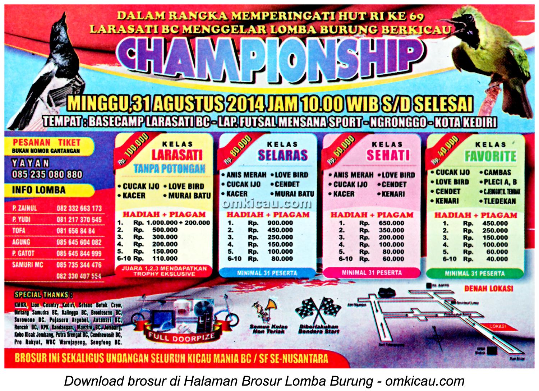 Brosur Lomba Burung Berkicau Championship, Kediri, 31 Agustus 2014