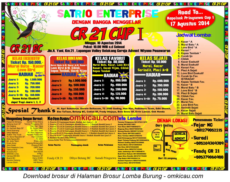 Brosur Lomba Burung Berkicau CR 21 Cup I, Pesawaran, 10 Agustus 2014