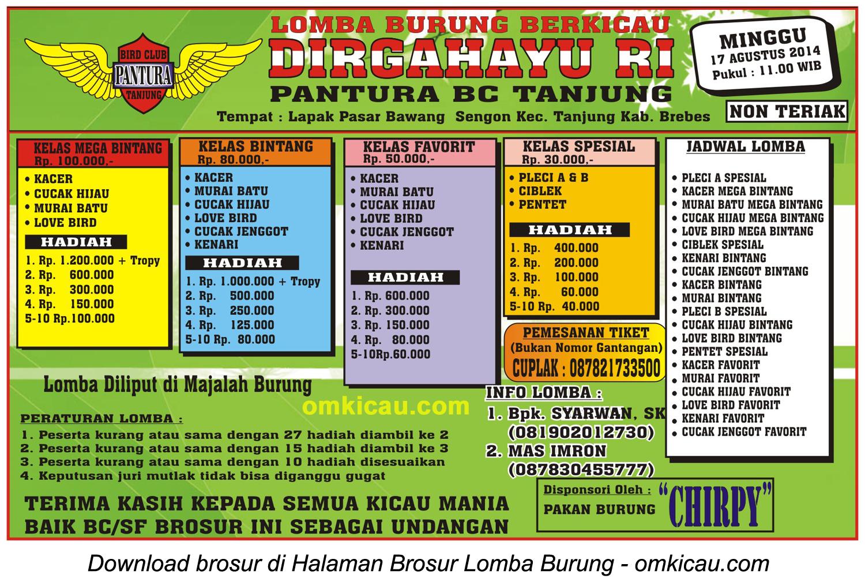 Brosur Lomba Burung Berkicau Dirgahayu RI - Pantura BC Tanjung, Brebes, 17 Agustus 2014