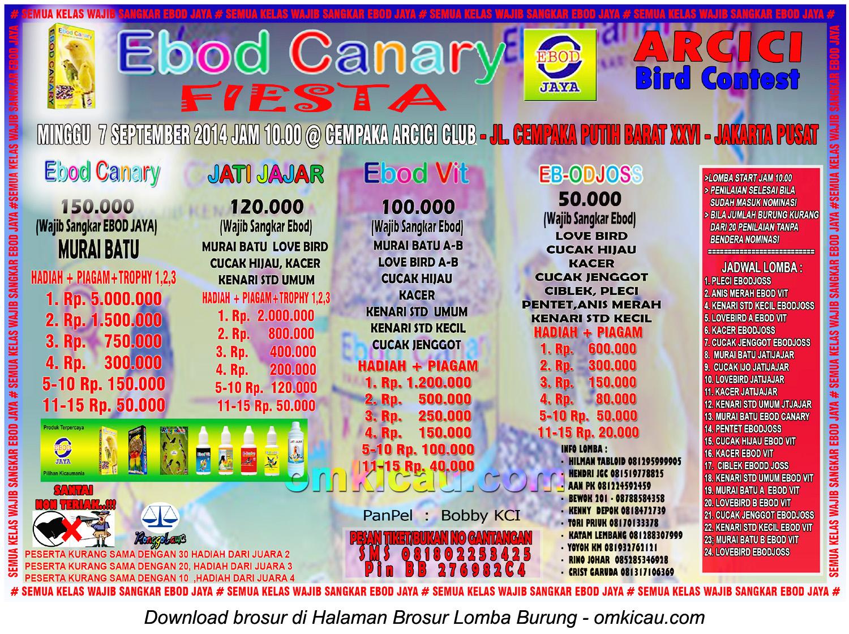 Brosur Lomba Burung Berkicau Ebod Canary Fiesta, Jakarta, 7 September 2014