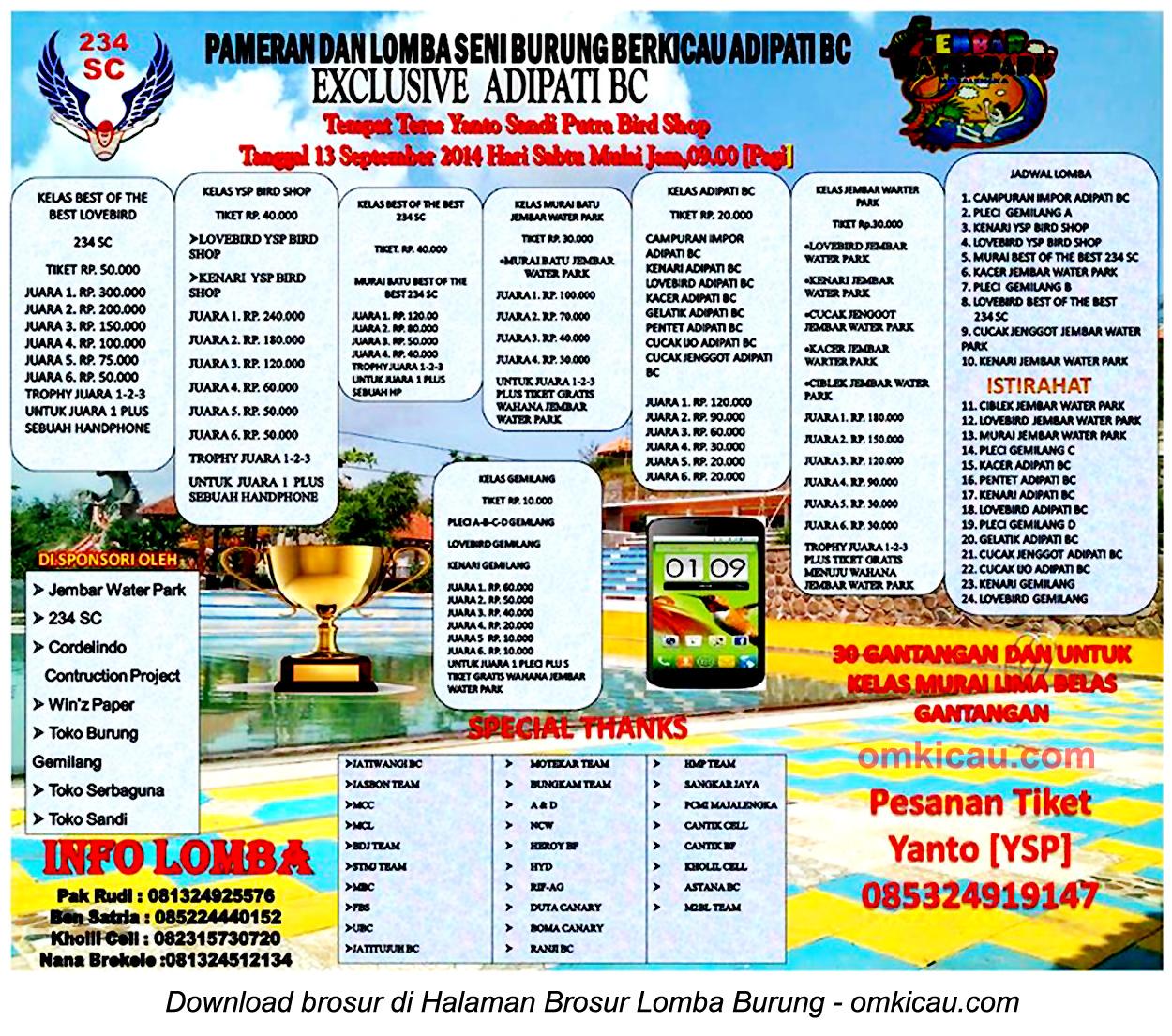 Brosur Lomba Burung Berkicau Exclusive Adipati BC, Majalengka, 13 September 2014