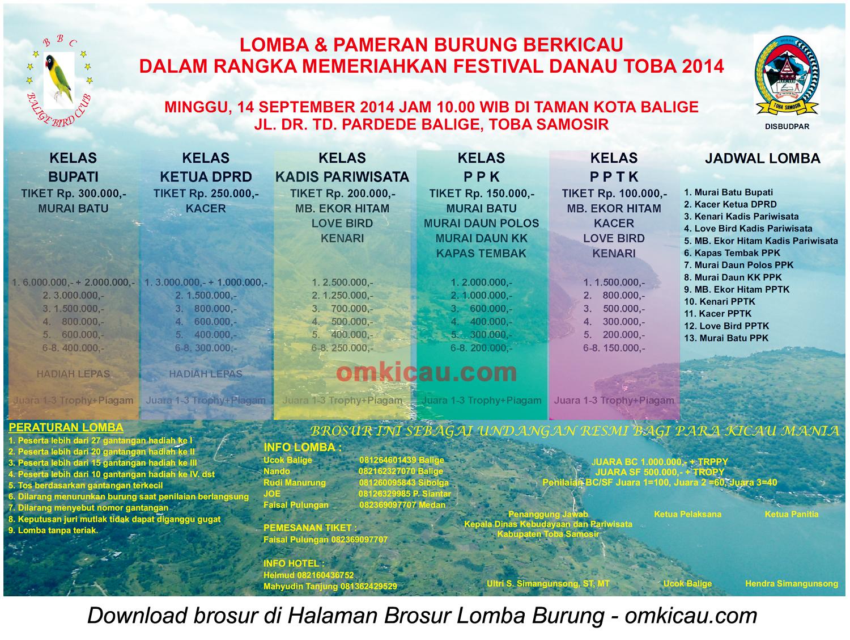 Brosur Lomba Burung Berkicau Festival Danau Toba 2014, Toba Samosir, 14 September 2014