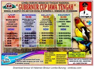 Brosur Lomba Burung Berkicau Gubernur Cup Jawa Tengah, Semarang, 31 Agustus 2014
