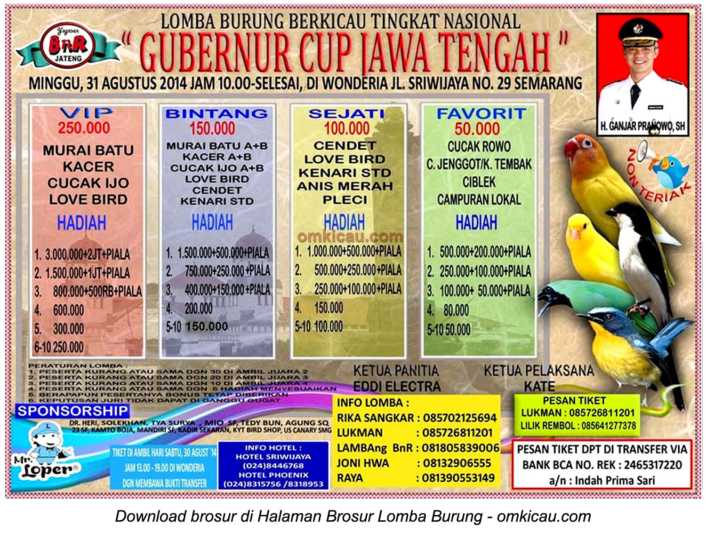 Brosur Lomba Burung Berkicau Gubernur Cup Jawa Tengah-Semarang-31 Agustus 2014