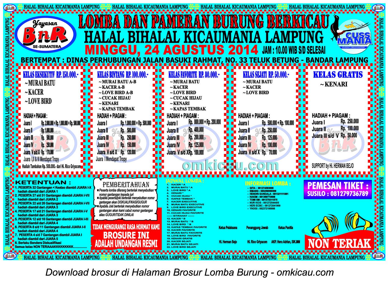 Brosur Lomba Burung Berkicau Halal Bihalal Kicaumania Lampung, Bandarlampung, 24 Agustus 2014