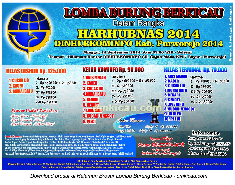 Brosur Lomba Burung Berkicau Harbubnas 2014, Purworejo, 14 September 2014