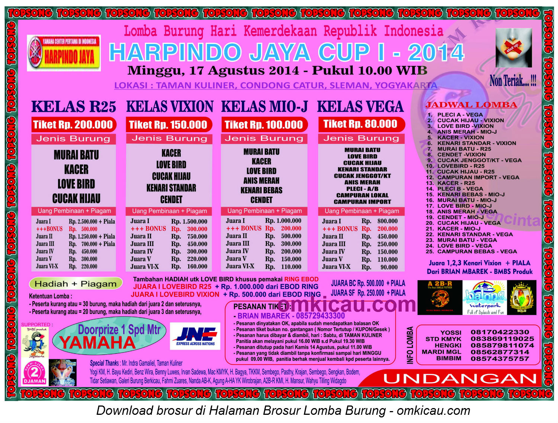 Brosur Lomba Burung Berkicau Harpindo Jaya Cup I, Jogja, 17 Agustus 2014