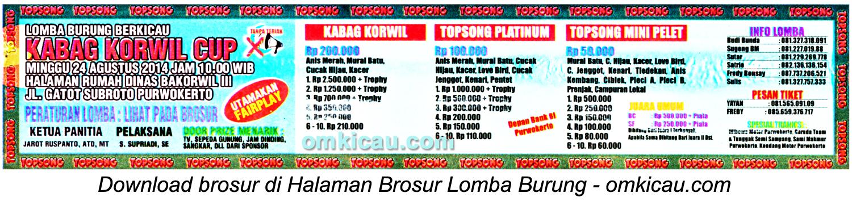 Brosur Lomba Burung Berkicau Kabag Korwil Cup, Purwokerto, 24 Agustus 2014