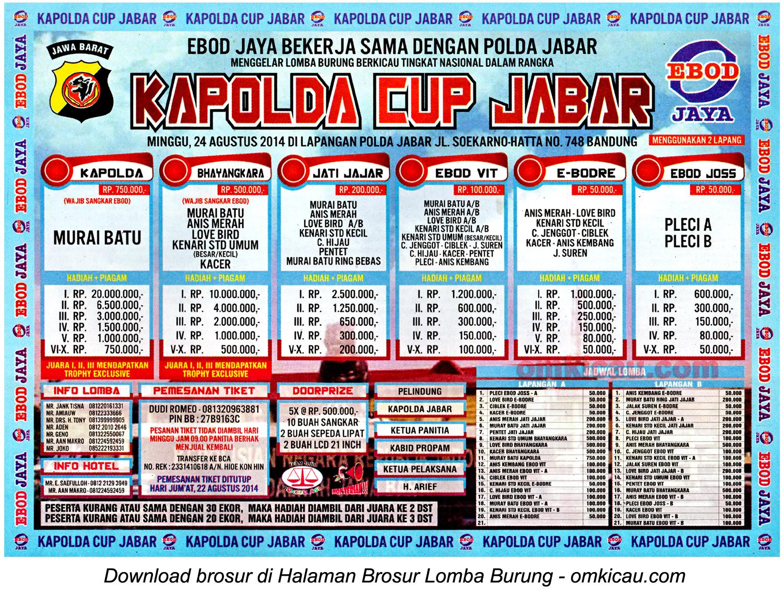 Brosur Lomba Burung Berkicau Kapolda Cup Jabar, Bandung, 24 Agustus 2014