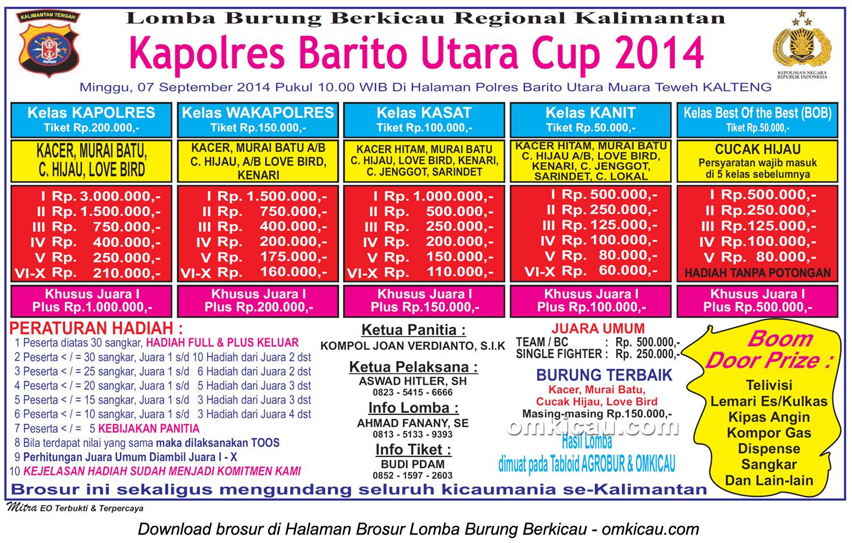 Brosur Lomba Burung Berkicau Kapolres Barito Utara Cup, 7 September 2014