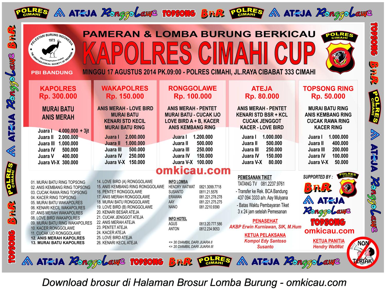 Brosur Lomba Burung Berkicau Kapolres Cimahi Cup, Cimahi, 17 Agustus 2014