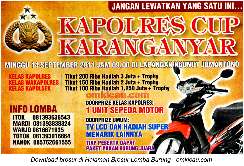 Brosur Lomba Burung Berkicau Kapolres Cup, Karanganyar, 14 September 2014