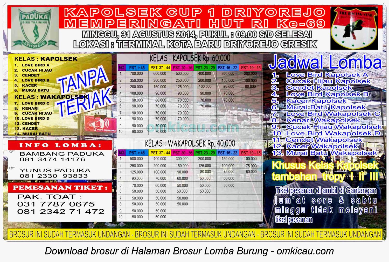 Brosur Lomba Burung Berkicau Kapolsek Cup 1 Driyorejo, Gresik, 31 Agustus 2014