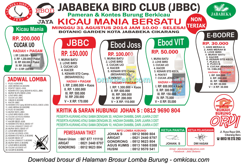 Brosur Lomba Burung Berkicau Kicau Mania Bersatu JBBC, Bekasi, 31 Agustus 2014