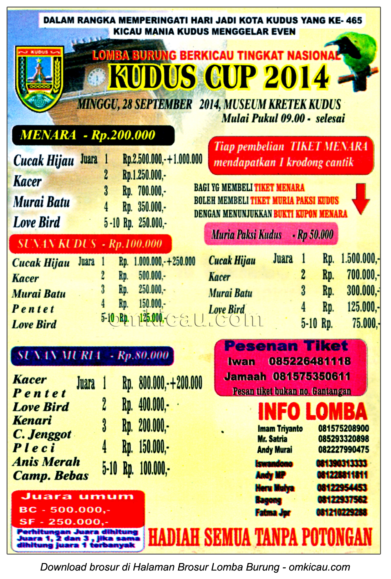 Brosur Lomba Burung Berkicau Kudus Cup 2014, Kudus, 28 September 2014